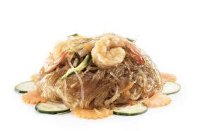 165 Spaghetti di soia con gamberi